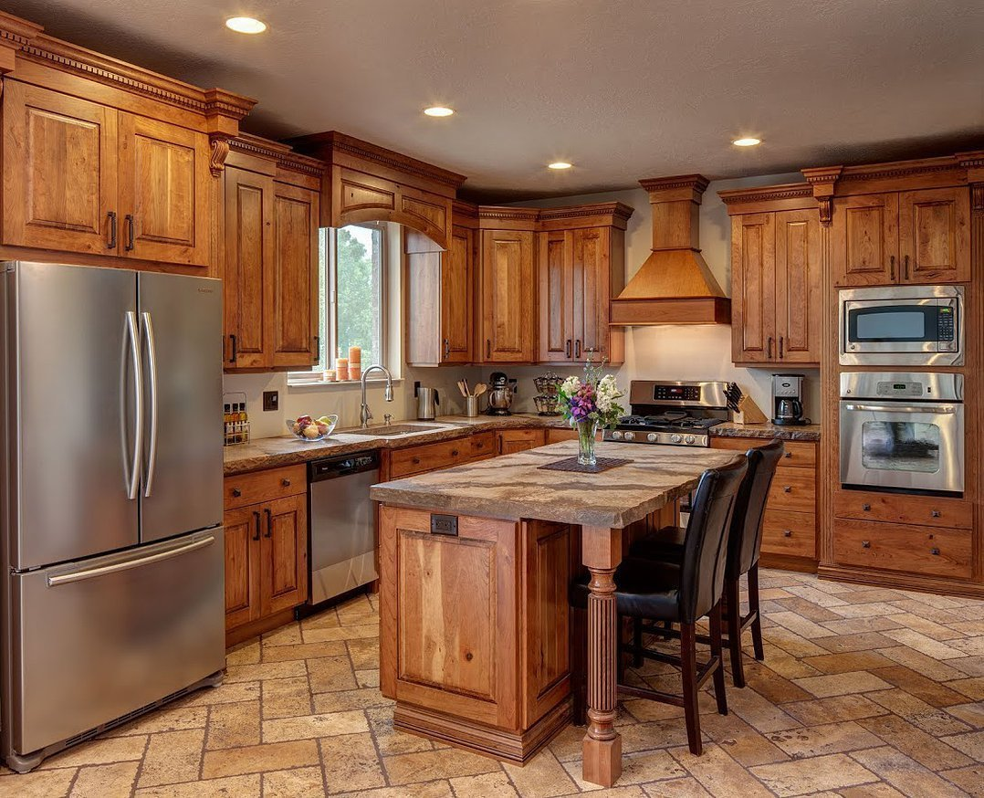 kitchen cabinet wood green chairs rustic cherry cabinets home furniture design