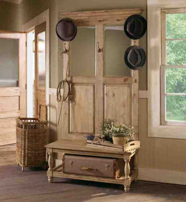 Rustic Hall Tree Bench with Storage