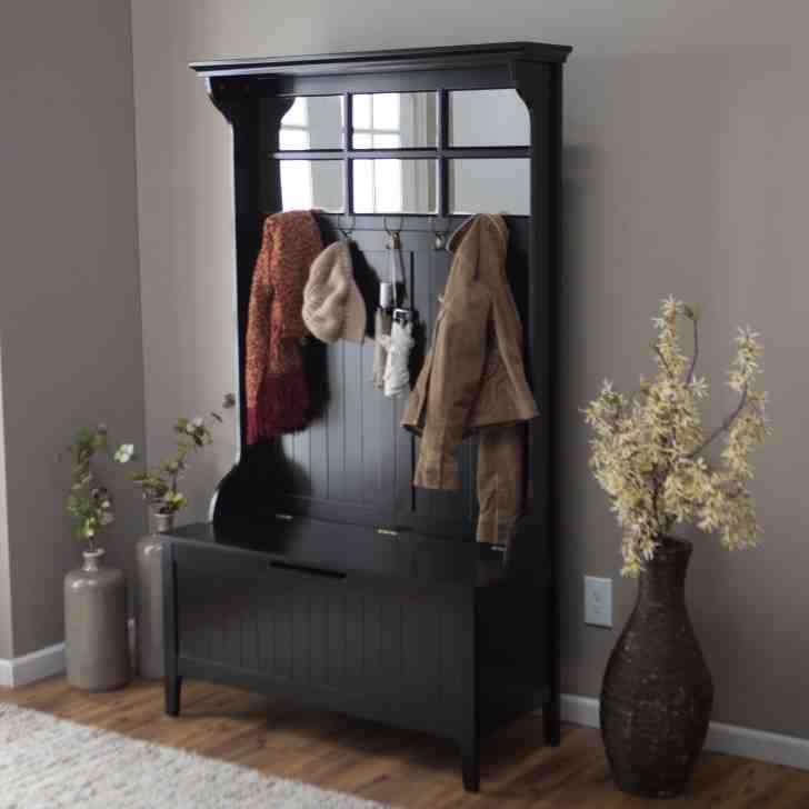 Black Hall Tree Storage Bench  Home Furniture Design