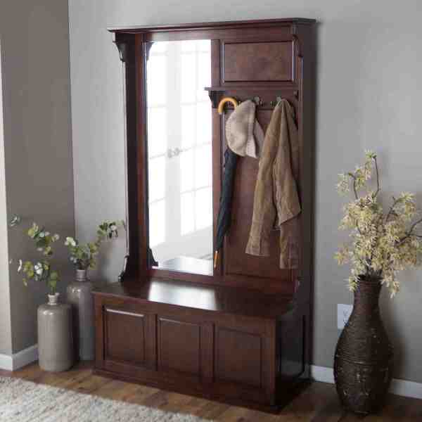 Entryway Hall Tree with Mirror and Bench