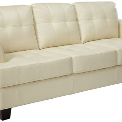 Coaster Samuel Bonded Leather Sofa Loveseat Combo Deals Collection Cream Home