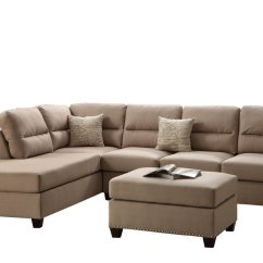 Left Chaise Sofa Sectional Slipcover Standard Size In India Poundex F7614 Bobkona Toffy Linen Like Or Right Hand