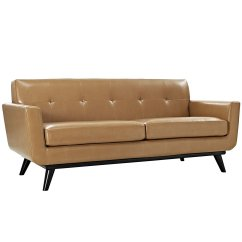 Baxton Studio Dobson Leather Modern Sectional Sofa Small Beds Light Tan Couch Home Furniture Design