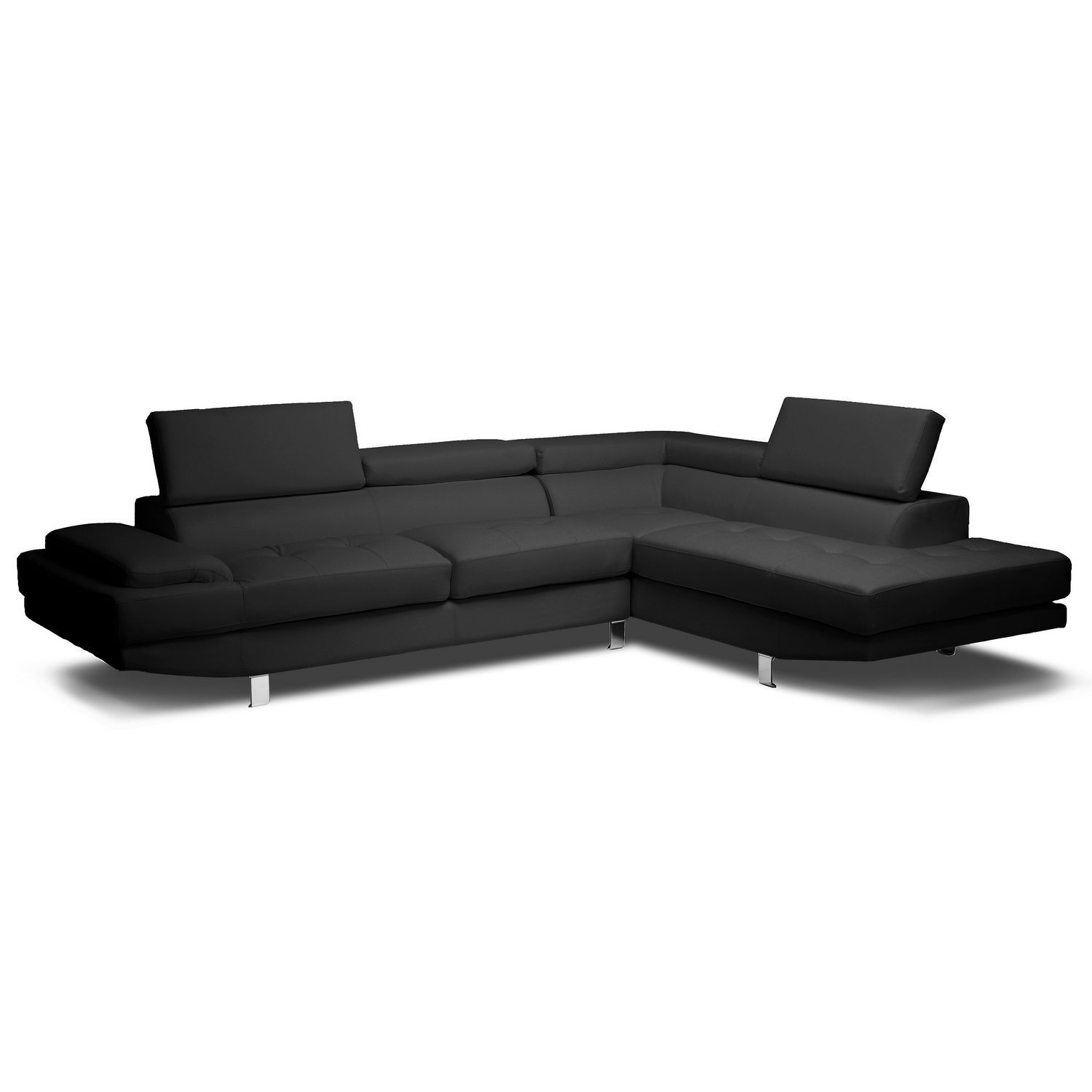baxton studio dobson leather modern sectional sofa difference between couch and chesterfield home furniture design