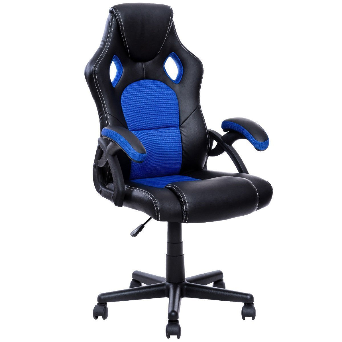 office chair seat covers black steel joints giantex pu leather executive bucket racing style