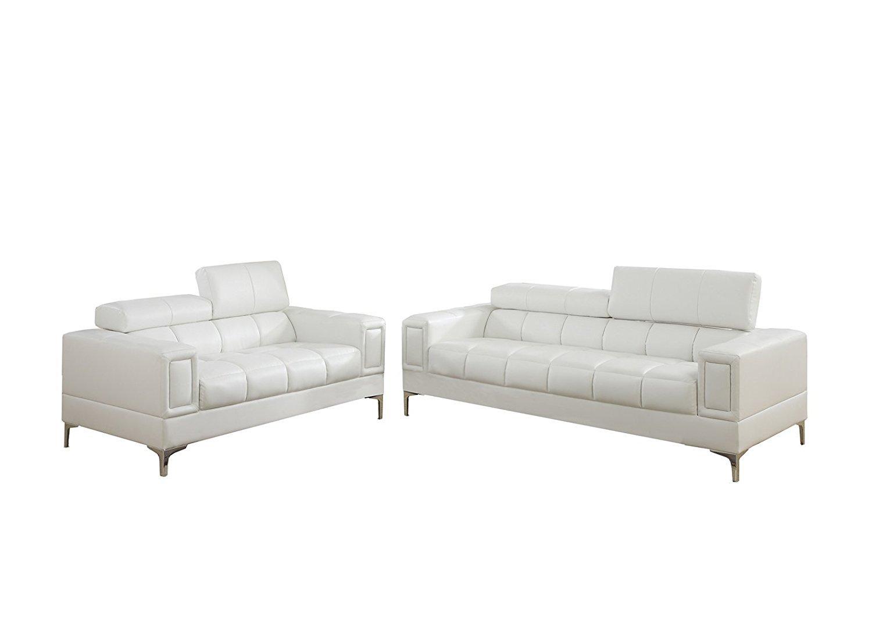 poundex bobkona arcadia sofa and loveseat set low design sierra bonded leather 2 piece