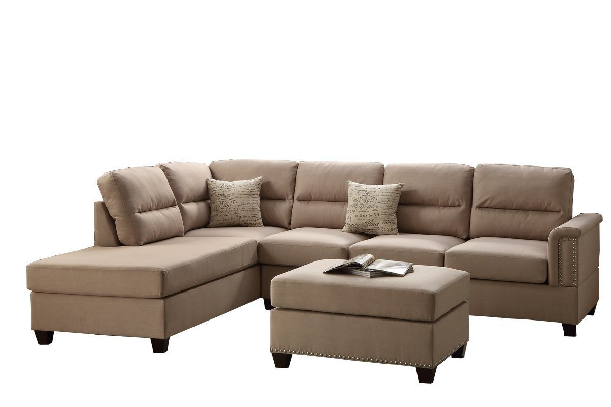 bobkona sofa set grey brown table poundex f7614 toffy chaise sectional with ottoman