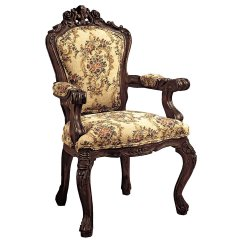 Victorian Accent Chair Outdoor Directors Chairs Bar Height Design Toscano Carved Rocaille Fabric Arm Home