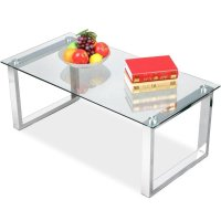 Glass Top Coffee Table With Metal Base - Home Furniture Design