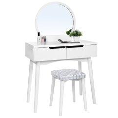 White Bedroom Vanity Chair Tile Rail Home Furniture Design