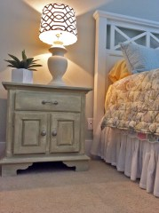 image-3 chalk paint end table  Bedroom_Staged to Sell Live_retro lamp