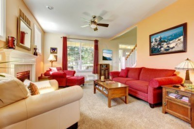 simplify your decor-fall home projects-design color inspiration-tan walls red accent