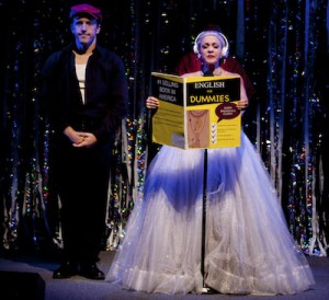 """Scott Richard Foster, left, and Jenny Lee Stern as Evita in an """"Evita"""" sketch in """"Forbidden Broadway: Alive and Kicking."""""""