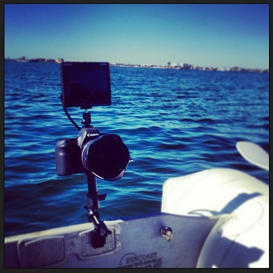 Canon 6D set up on the dinghy