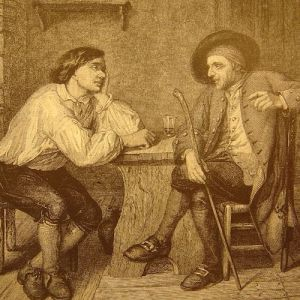 An illustration of a man sharing his woes, and his companion offering advice.