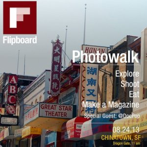 A screenshot from the app Flipboard, showing a photo of business signs in San Francisco's Chinatown, and options of more photos to view.