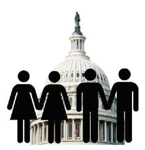 Female and male figures representing same-sex couples stand united in front of the Capitol in Washington, D.C.