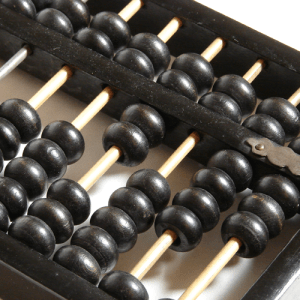 A wooden black abacus.