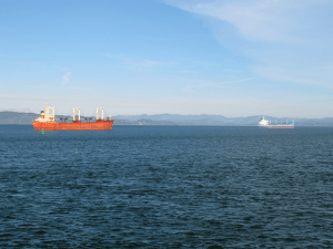 Two ships off the coast of Astoria, OR.