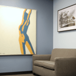 Interior of front lobby of Sk&H Portland office.