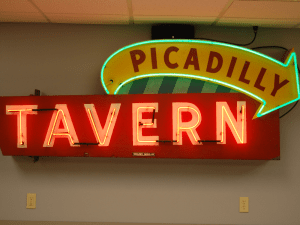 """""""Picadilly Tavern"""" sign in SK&H Portland office kitchen."""