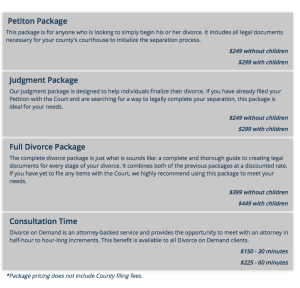 Divorce on Demand offers multiple packages for different price points.