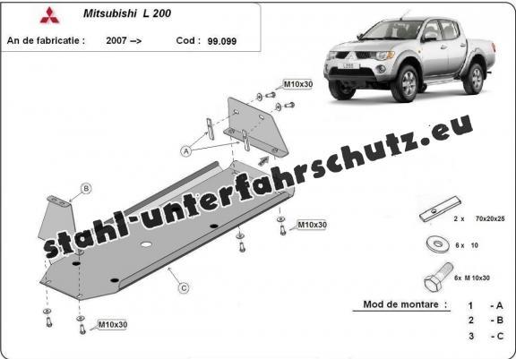 Stahschutz für Treibstofftank der Marke Mitsubishi L 200