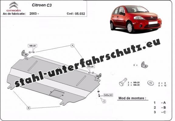Unterfahrschutz für Motor der Marke Citroen C3