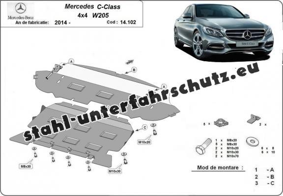 Stahl Unterfahrschutz für Mercedes C-Classe