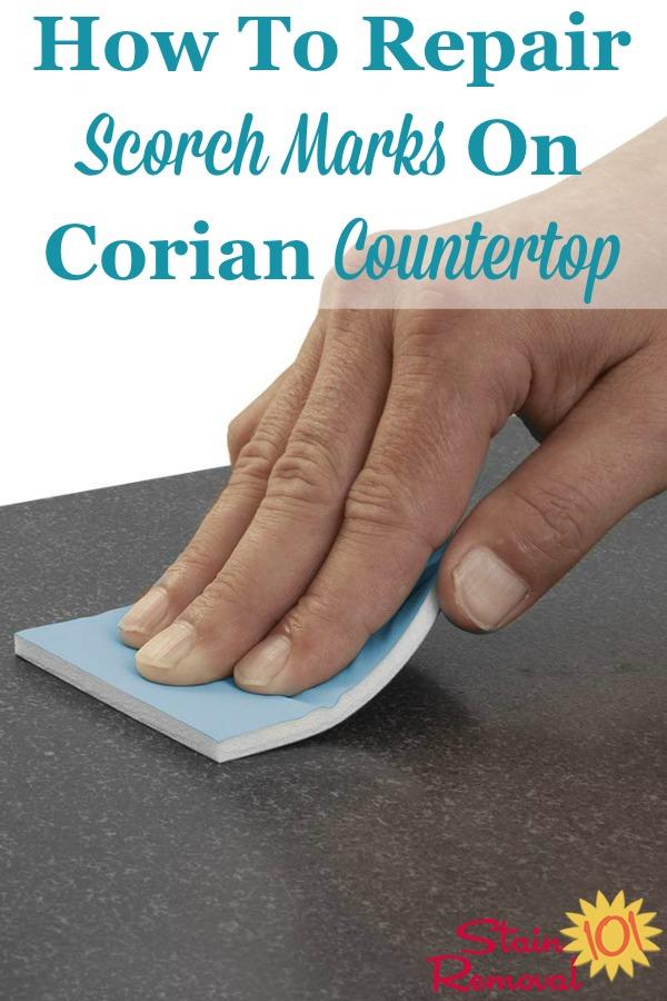 scorch mark on corian kitchen worktop