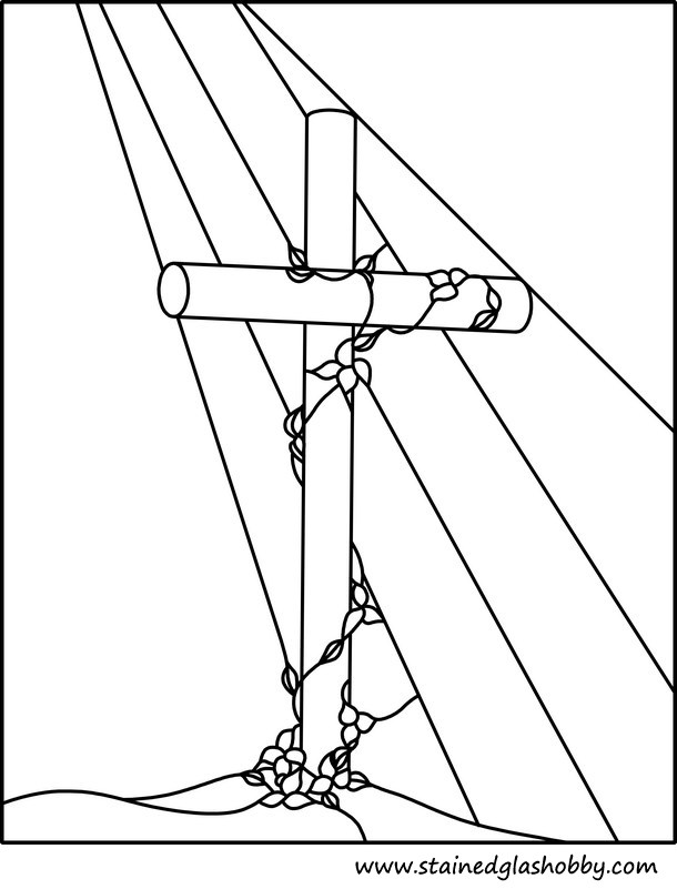 Free cross stained glass coloring pages