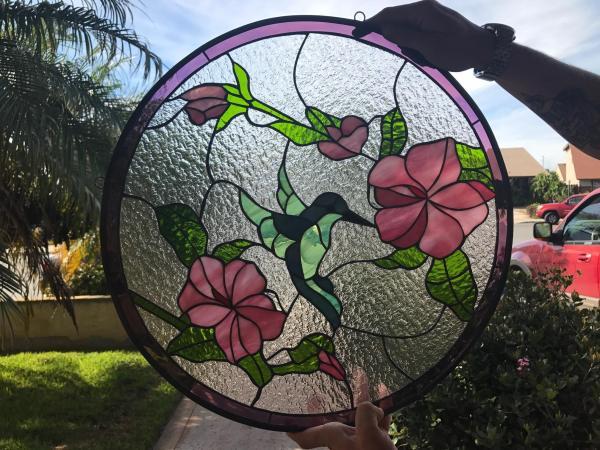 Hibiscus Feeding Hummingbird Leaded Stained Glass Window