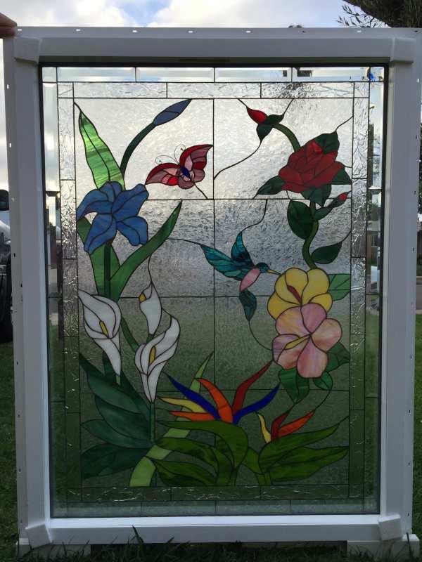 Butterfly Hummingbird & Flowers Insulated Triple Pane