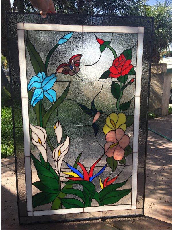 Elegant Hummingbird Butterfly & Flowers Leaded Stained