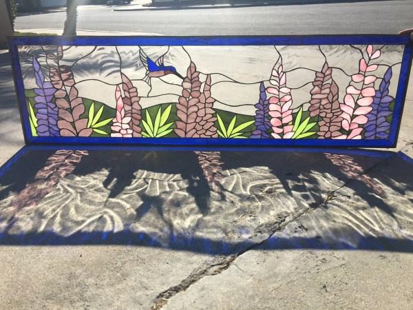 Lupine Flowers & Hummingbird Leaded Stained Glass Window