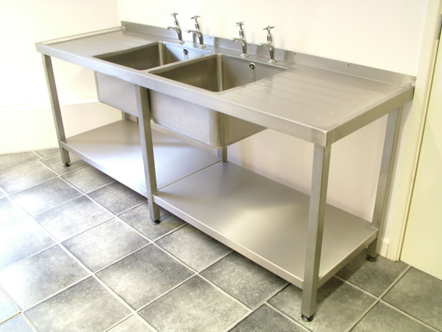 Double Bowl Catering Sink Units With Frames