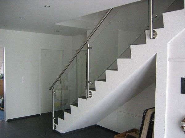 Reliable Stainless Steel Balustrade Systems Side Mounted Glass | Stainless Steel Glass Staircase | Transparent | Handle | Powder Coated Steel | Open Tread | Black Stained