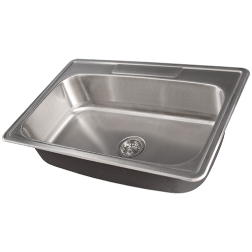 stainless steel kitchen sinks 33 x 22 trash can dimensions ticor s994 overmount single bowl ...