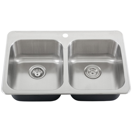 Ticor S998 Overmount 18Gauge Stainless Steel Double Bowl