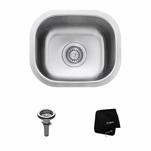 Kraus KBU17 15 Inch Undermount Single Bowl 18 Gauge Stainless Steel Kitchen  Sink Premium T 304 Stainless Steel Construction Sound Insulated With Thick  ...