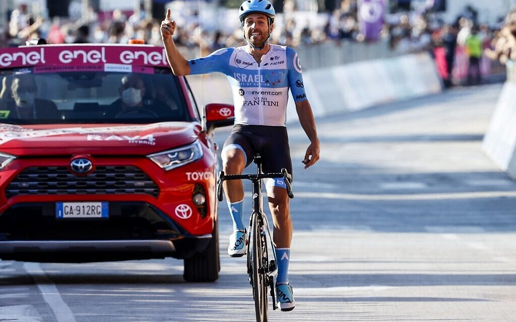 Israel cycling team wins first-ever Grand Tour stage in Italy
