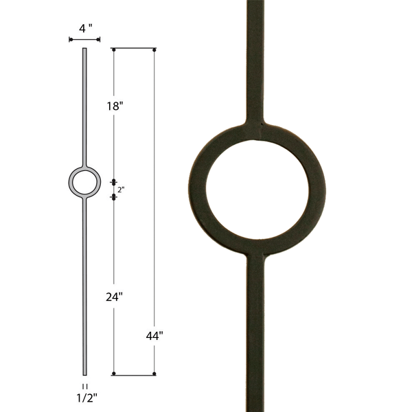 Solid Single Ring Iron Baluster