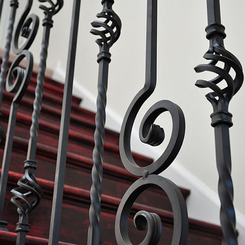 Twist and Basket Series Wrought Iron Balusters