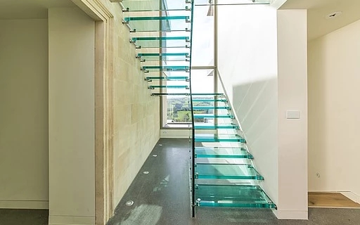Glass Stairs Siller Stairs   Wooden Handrail With Glass   Contemporary Wood Glass   Oak   Timber   Staircase   Steel