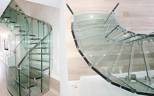 Glass Stairs Siller Stairs   Glass Banister Near Me   Frameless Glass   Curved Staircase   Glass Panels   Modern Staircase Design   Toughened Glass
