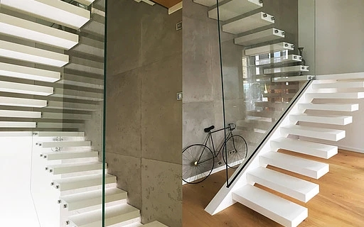 Cantilevered Stairs Siller Stairs   Cantilever Staircase Structural Design   Steel   Structure   Metal   Exposed Brick Wall   Wood