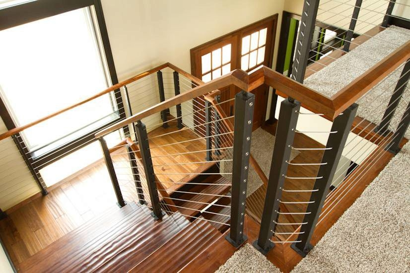 Project 60 Cable Railing With Wood Handrail Stairsupplies™   Metal Railing With Wood Handrail   Horizontal Metal   Stair Railings   Flat Bar   Stair Parts   Wrought Iron Balusters