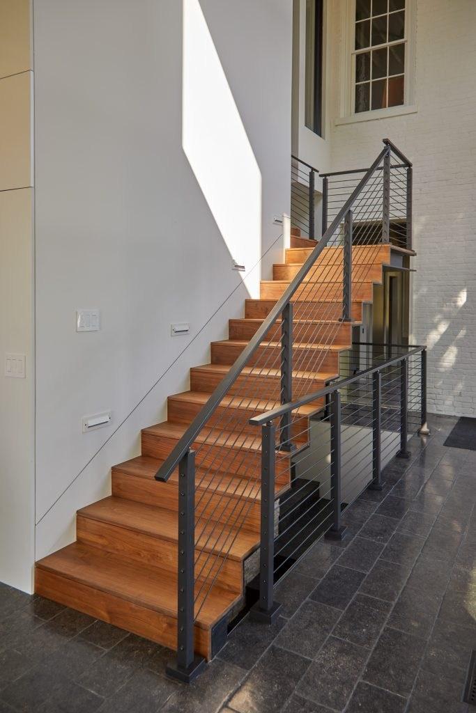 Metal Handrail 1 X 2 Stairsupplies™ | Brushed Nickel Stair Railing | Horizontal | Farmhouse | Matte Finish | Light Dark Wood | Hallway