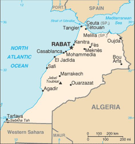 karta marocko Spanien Mot Marocko   Städer Marocko Wikipedia Spanien Wikipedia karta marocko