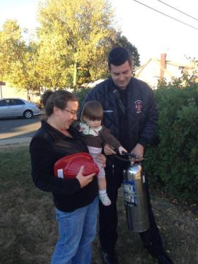 Firefighter Chris O'Connor interacting with the local community